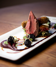 Roast Grouse, creamed braised cabbage, beetroot and blackberries