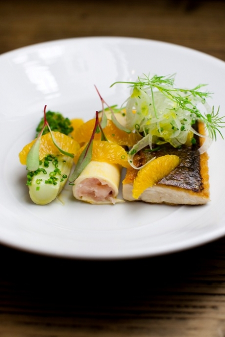 Sea Trout: Roast loin, lobster claw cannelloni, fennel and orange
