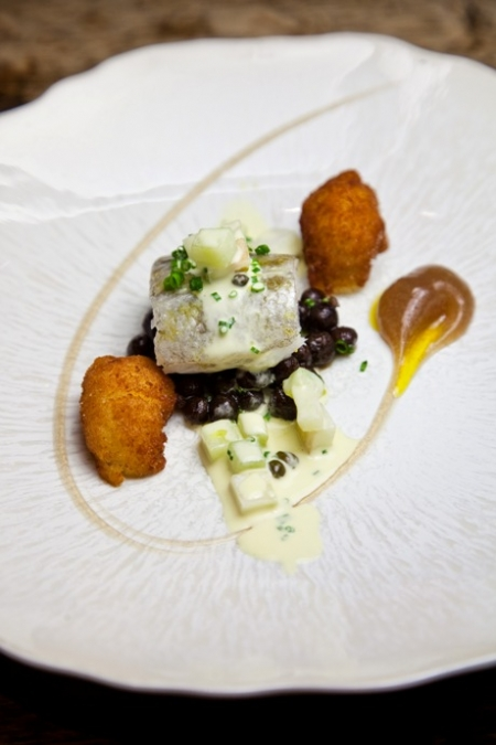 Cod: Butter-Poached, Parched Peas, Malt Vinegar, Scampi and Tartare Sauce